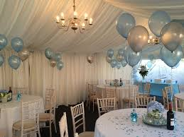 baptism table centerpieces complementary floor and table balloon decorations all ready for