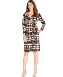 anne klein geo print faux wrap dress dresses women macy u0027s