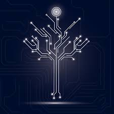 tree design on circuit board background vector image 1646948
