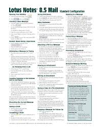 lotus notes 8 5 mail quick reference guide cheat sheet of