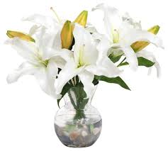 Casablanca Flower - white lily casablanca in vase traditional artificial flower