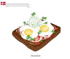 cuisine danemark smorrebrod avec fried egg le plat national du danemark illustration