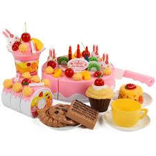 jeux de cuisine de gateaux d anniversaire 75pcs de cuisine de coupe de jouets jeu de gâteau d anniversaire