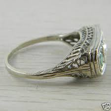 14k white gold 3 stone emerald and diamond filigree art deco ring