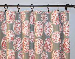 red floral curtains etsy