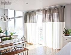 Two Tone Drapes Diy No Sew Two Tone Curtains White Fabrics Fabric Sewing And Linens