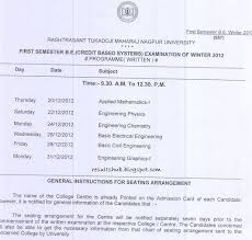 nagpur credit based systems b e time table winter 2012