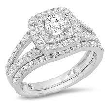 10k wedding ring 1 00 carat ctw 10k gold split shank halo