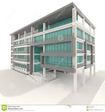side of 3d condominium exterior design in white background stock