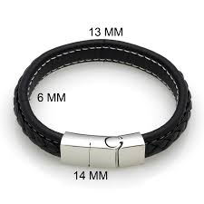 stainless steel bracelet clasp images Top quality genuine leather bracelet men stainless steel leather jpg