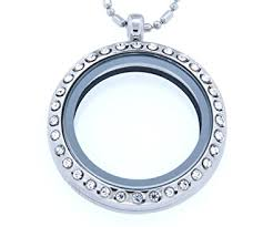necklace locket images Round necklace floating charm locket with bamboo chain jpg
