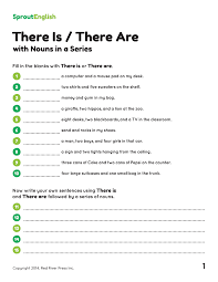 there is or there are for nouns in a series sprout english