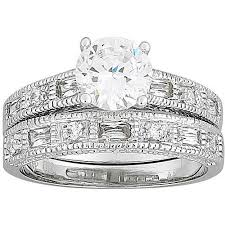 ring sets 2 7 carat t g w cz silver tone wedding ring set walmart