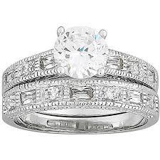 cheap engagement rings at walmart 2 7 carat t g w cz silver tone wedding ring set walmart