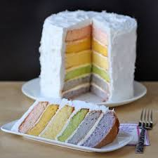 naturally colored rainbow layer cake colored using fruit puree