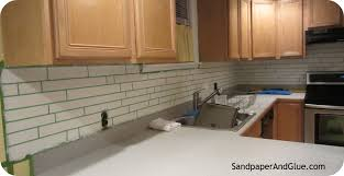 diy faux tile backsplash stephanie marchetti sandpaper glue faux tile backsplash instructions