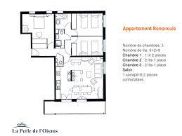 plan appartement 3 chambres location chalet vaujany appartement renoncule 6 8 pers 3 chambres