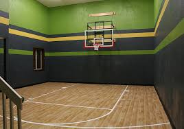 Basket Ball Court In Home Design With Green Yellow Black With Wood - Home basketball court design