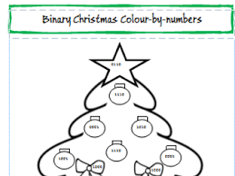 binary christmas colour numbers activity worksheet computer