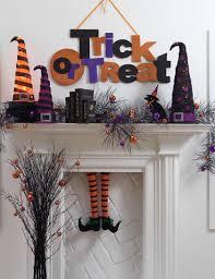 decorations glitterly orange and purple halloween mantel decor