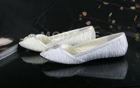 chaussures plates mariage chaussures plate pour mariée avec peep orteils orné de perles en