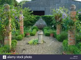 garden pillars courtyard garden defined with brick pillars hosting