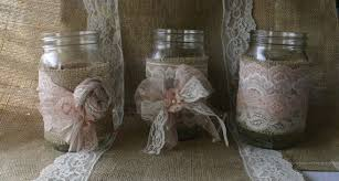 burlap wedding vintage lace wedding jars wedding table