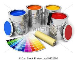 stock illustration of cans with color paint roller brush and