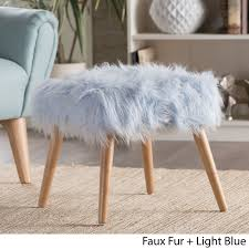 Faux Fur Ottoman Huxley Faux Fur Ottoman Stool By Christopher Home Grey Ebay