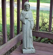vintage concrete hooded st francis of assisi garden lawn statue