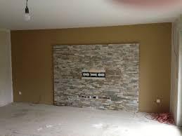 innenarchitektur tolles wohnzimmer ideen tv wand stein moderne