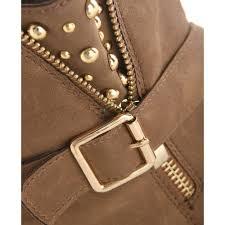 womens brown biker boots women u0027s light brown studded mock zip biker boots
