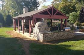 outdoor pizza oven patio farmhouse with redwood traditional pub