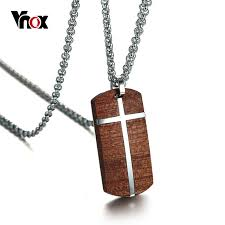 steel pendant necklace images Vnox vintage rosewood men pendant necklace real wood wooden jpg