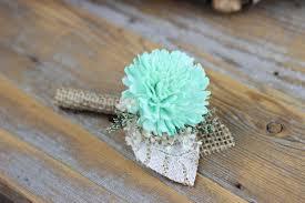 burlap boutonniere mint boutonnieregroom boutonnieresola flower