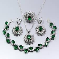 emerald necklace sets images New fashion 925 silver flower green created emerald jewelry set jpg