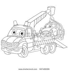 coloring cartoon tow truck evacuator stock vector 697486006