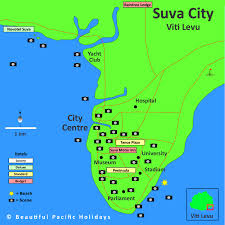 map of suva city map of suva in fiji islands showing hotel locations