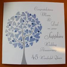 45 wedding anniversary personalised sapphire wedding anniversary card folksy