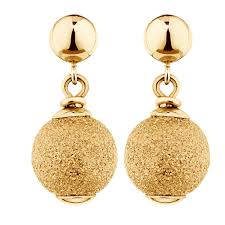 yellow gold earrings drop earrings in 10ct yellow gold