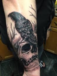 forearm skull tattoos 40 raven tattoos on sleeve