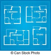 vector of set houses and blueprint vector cad elevations for a