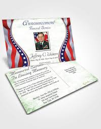Funeral Service Invitation Announcement Card Template Evening Military Honors