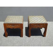 carved wood end table drexel mid century modern slate carved wood end tables a pair
