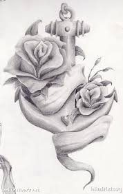 grey ink roses and anchor tattoos design tattooshunter com