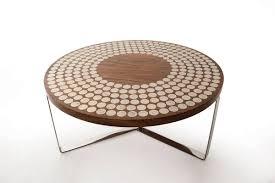 contemporary coffee table walnut round moods ounovis