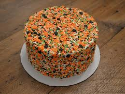 green orange black amp white halloween sprinkle cake cakecentral com