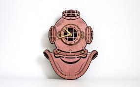 buy vintage deep diving helmet wooden wall clock at woodandroot