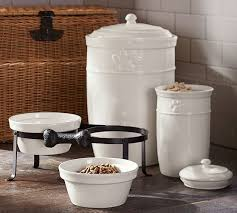 Decorative Dog Food Storage Containers Cambria Pet Bowl U0026 Stand Pottery Barn
