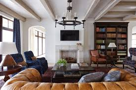Next Leather Sofas Bookcase Next To Fireplace Family Room Mediterranean With Leather